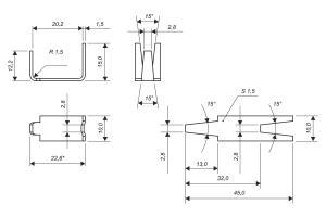 Чертеж скобы Супер для изготовления сетки колючей Пиранья 2х10