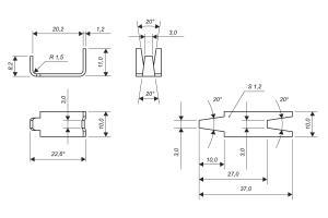 Чертеж скобы Стандарт для изготовления сетки колючей Пиранья 2х6