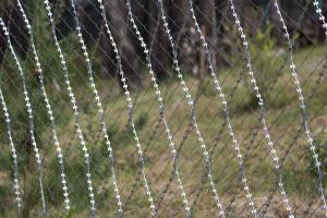 Ограждение из сетки рабица, усиленный сеткой колючей Пиранья