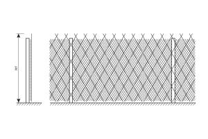 Схема усиления ограждения из сетки рабица колючей сеткой Пиранья