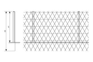Схема установки ограждения из сетки Пиранья против подкопа